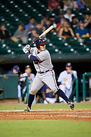 Mississippi Braves catcher Kade Scivicque (22) at bat during a game against the Montgomery Biscuits on April 26, 2017 at Montgomery Riverwalk Stadium in Montgomery, Alabama.  Montgomery defeated Mississippi 5-2.  (Mike Janes/Four Seam Images)