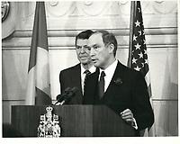 Pierre Trudeau et le President americain Ronald Reagan, le 3 mars 1980<br /> <br /> <br /> PHOTO : agence quebec presse
