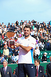 Stanislaus Wawrinka (SUI) defeats Roger Federer (SUI) 4-6, 7-6(5), 6-2 to win the final at the Monte Carlo Rolex Masters Tournament on April 20, 2014 in Monte Carlo, Monaco