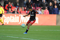 WASHINGTON, DC - MARCH 07: Edison Flores #10 of D.C. United moves the ball during a game between Inter Miami CF and D.C. United at Audi Field on March 07, 2020 in Washington, DC.