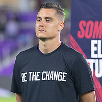 ORLANDO CITY, FL - JANUARY 31: Aaron Long of the United States during a game between Trinidad and Tobago and USMNT at Exploria stadium on January 31, 2021 in Orlando City, Florida.
