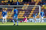 Motherwell v St Johnstone….30.03.19   Fir Park   SPFL<br />Zander Clark on the deck as David Turnbull scores Motherwqell's second goal<br />Picture by Graeme Hart. <br />Copyright Perthshire Picture Agency<br />Tel: 01738 623350  Mobile: 07990 594431