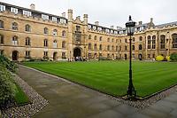 UK, England, Cambridge.  Corpus Cristi College, Inner Courtyard, looking toward the main entrance.