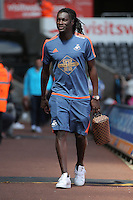 Bafetibi Gomis of Swansea City arrives during the Swansea City FC v Manchester City Premier League game at the Liberty Stadium, Swansea, Wales, UK, Sunday 15 May 2016