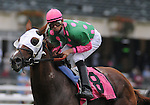 27 Sept 2008:Jockey Eddie Castro settles in on the lead aboard Presious Passion early in the Joe Hirsch Classic Invitational Stakes at Belmont Park in Elmont, New York on Jockey Club Gold Cup Day.