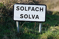 Pictured: A sign for the village of Solva. Friday 10 January 2020<br /> Re: Farmers campaigning to save a 14th century farm called Trecadwgan and keep it for a community project in Solva, west Wales, UK.