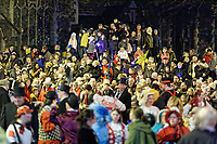 """Pictured: Locals gather at outside St Mary's Church to watch the Christmas parade in Swansea, Wales, UK. Sunday 19 November 2018<br /> Re: Swansea Christmas parade attended by thousands has been branded a """"shambles"""" for having just three floats.<br /> The annual festive event in south Wales, which took place on Sunday, promised """"dynamic dance-troupes"""" as well as """"spectacular shows and stages"""".<br /> But the parade was scaled down, leading to a barrage of criticism on social media because of roadworks in the city centre. <br /> The leader of Swansea Council, Rob Stewart apologised on Facebook and said the parade was not """"good enough"""".<br /> Parents took on social media to voice their anger, calling the event """"a load of rubbish"""" and claiming there was nothing for young children apart from """"a loud music float with Santa on""""."""