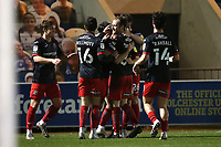 Ben Seymour of Exeter City scores the second goal for his team and celebrates with his team mates during Colchester United vs Exeter City, Sky Bet EFL League 2 Football at the JobServe Community Stadium on 23rd February 2021