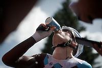 Jan Bakelants (BEL/Ag2r-LaMondiale) hydrating properly after a hot stage<br /> <br /> Stage 18 (ITT) - Sallanches › Megève (17km)<br /> 103rd Tour de France 2016