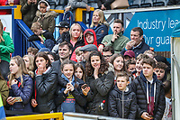 Fans during the Celebrity football match in aid of the charity's 'Keep Moving Forward' programme which benefits people with mental health issues put together by Wycombe Wanderers Sports & Education Trust and Sellebrity Soccer Football Match at Adams Park, High Wycombe, England on 7 April 2019. Photo by David Horn.