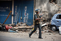 Police commando during the gunfight at Nariman House, home to the Hasidic Jewish group Chabad-Lubavitch, where hostages were being held after multiple terrorist attacks were launched in Mumbai on 26/11/2008..