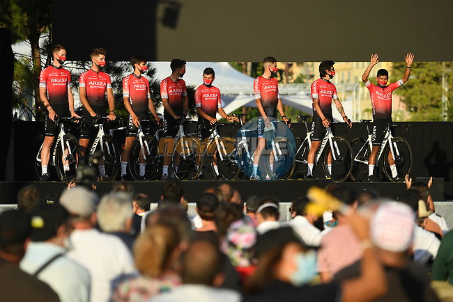 Team Arkea-Samsic on stage at the team presentation before the Tour de France 2020, Nice, France. 27th August 2020.<br /> Picture: ASO/Alex Broadway   Cyclefile<br /> All photos usage must carry mandatory copyright credit (© Cyclefile   ASO/Alex Broadway)