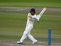 28th May 2021; Emirates Old Trafford, Manchester, Lancashire, England; County Championship Cricket, Lancashire versus Yorkshire, Day 2; Josh Bohannon of Lancashire pulls the ball for a boundary
