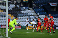 31st October 2020; Deepdale Stadium, Preston, Lancashire, England; English Football League Championship Football, Preston North End versus Birmingham City; Birmingham City goalkeeper Neil Etheridge saves a header from Alan Browne of Preston North End