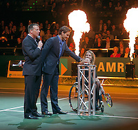 11-02-13, Tennis, Rotterdam, ABNAMROWTT,  Roger Federer and Esther Vergeer at the official opening of the tournament.