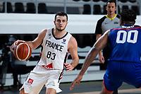 22nd February 2021, Podgorica, Montenegro; Eurobasket International Basketball qualification for the 2022 European Championships, England versus France;  Axel Julien of France drives towards Ovie Soko (GBR)