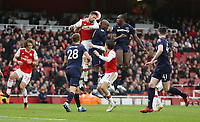 Arsenal's Pablo Mari is challenged by West Ham United's Angelo Ogbonna and Michail Antonio<br /> <br /> Photographer Rob Newell/CameraSport<br /> <br /> The Premier League - Arsenal v West Ham United - Saturday 7th March 2020 - The Emirates Stadium - London<br /> <br /> World Copyright © 2020 CameraSport. All rights reserved. 43 Linden Ave. Countesthorpe. Leicester. England. LE8 5PG - Tel: +44 (0) 116 277 4147 - admin@camerasport.com - www.camerasport.com