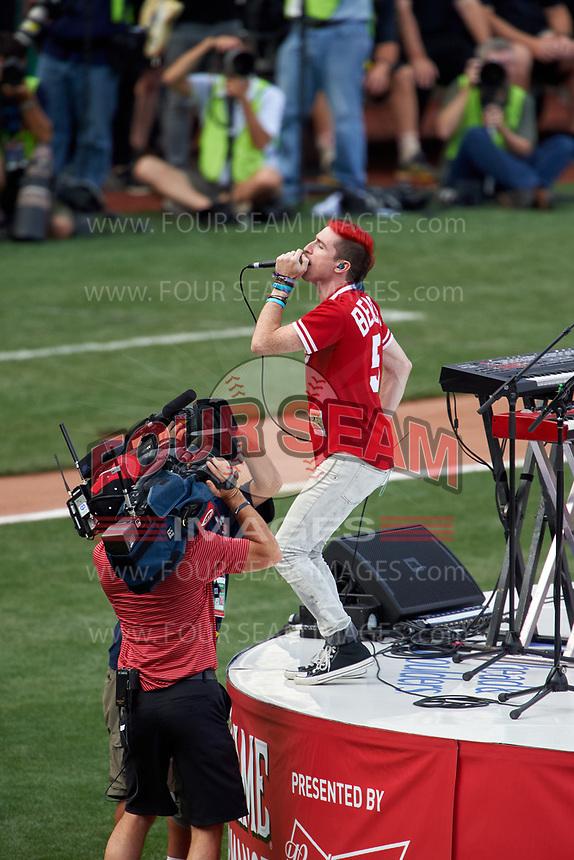 Cincinnati, Ohio based Walk the Moon - lead singer Nicholas Petricca - perform before the MLB Home Run Derby on July 13, 2015 at Great American Ball Park in Cincinnati, Ohio.  (Mike Janes/Four Seam Images)
