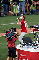Cincinnati, Ohio based Walk the Moon - lead singer Nicholas Petricca - perform before the MLB Home Run Derby on July 13, 2015 at Great American Ball Park in Cincinnati, Ohio.  (Mike Janes/Four Seam Images)
