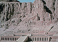 Mortuary Temple of Hatshepsut, an ancient funerary shrine in Upper Egypt. Deir el Bahari, on the west bank of the Nile near the Valley of the Kings. It is dedicated to the sun deity Amun.