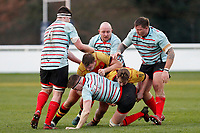 Tom Baldwin of Blackheath Rugby is tackled during the English National League match between Richmond and Blackheath  at Richmond Athletic Ground, Richmond, United Kingdom on 4 January 2020. Photo by Carlton Myrie.