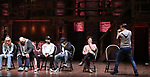 """Elizabeth Judd, Greg Treco, Terrance Spencer, Anthony Lee Medina, Sasha Hollinger with Lin-Manuel Miranda making a surprise appearance during a Q & A before The Rockefeller Foundation and The Gilder Lehrman Institute of American History sponsored High School student #EduHam matinee performance of """"Hamilton"""" at the Richard Rodgers Theatre on 3/20/2019 in New York City."""