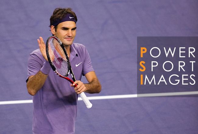 SHANGHAI, CHINA - OCTOBER 16:  Roger Federer of Switzerland celebrates match point to Novak Djokovic of Serbia during day six of the 2010 Shanghai Rolex Masters at the Shanghai Qi Zhong Tennis Center on October 16, 2010 in Shanghai, China.  (Photo by Victor Fraile/The Power of Sport Images) *** Local Caption *** Roger Federer