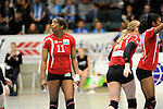 Rüsselsheim, Germany, April 13: Liana Mesa Luaces #11 of the Rote Raben Vilsbiburglo+ during play off Game 1 in the best of three series in the semifinal of the DVL (Deutsche Volleyball-Bundesliga Damen) season 2013/2014 between the VC Wiesbaden and the Rote Raben Vilsbiburg on April 13, 2014 at Grosssporthalle in Rüsselsheim, Germany. Final score 0:3 (Photo by Dirk Markgraf / www.265-images.com) *** Local caption ***
