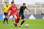 v.li.: Angelo Stiller (Bayern München, FCB, 38) Mohamed Morabet (Kaiserslautern, 27) im Zweikampf, Duell, duel, tackle, Dynamik, Action, Aktion beim Spiel in der 3. Liga, FC Bayern München II -1. FC Kaiserslautern.<br /> <br /> Foto © PIX-Sportfotos *** Foto ist honorarpflichtig! *** Auf Anfrage in hoeherer Qualitaet/Aufloesung. Belegexemplar erbeten. Veroeffentlichung ausschliesslich fuer journalistisch-publizistische Zwecke. For editorial use only. DFL regulations prohibit any use of photographs as image sequences and/or quasi-video.
