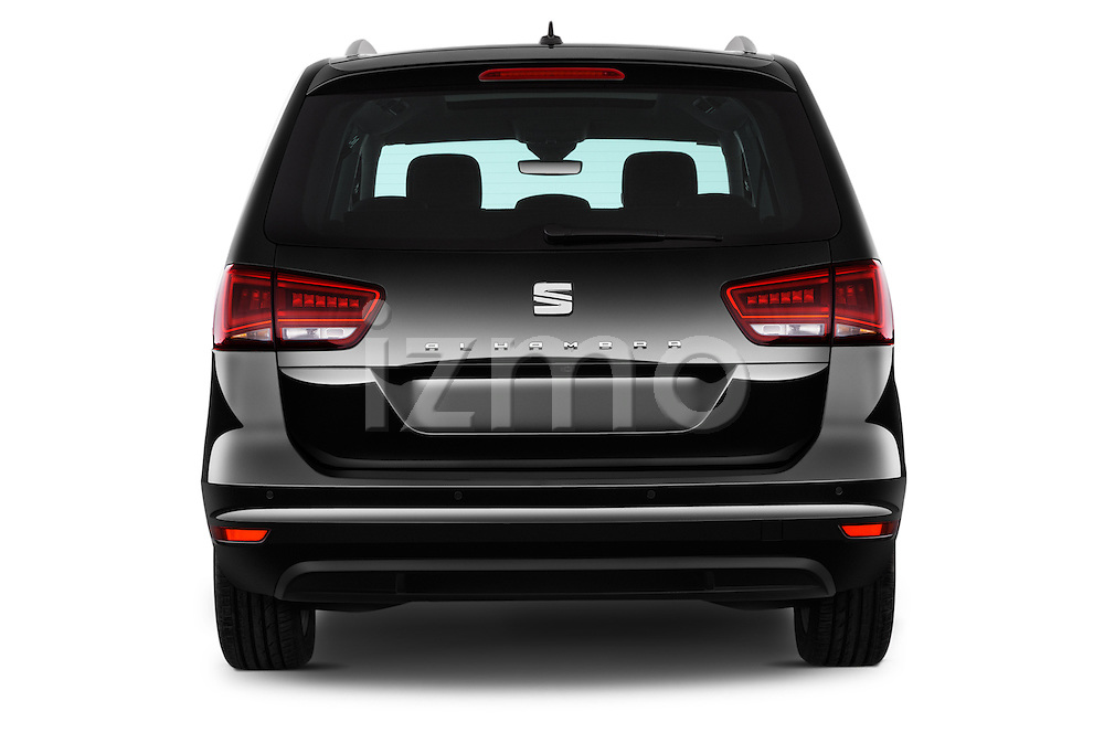 Straight rear view of 2016 Seat Alhambra Style Advance 5 Door Minivan Rear View  stock images