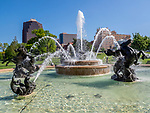 The Nichols Fountain is a popular place in Kansas City, Missouri.