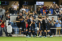 SAN JOSE, CA - AUGUST 24: Andres Rios #25 of the San Jose Earthquakes celebrates scoring with teammates during a Major League Soccer (MLS) match between the San Jose Earthquakes and the Vancouver Whitecaps FC  on August 24, 2019 at Avaya Stadium in San Jose, California.