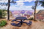 Picnic table along the Rim Trail, South Rim, Grand Canyon National Park, Arizona, USA.  HIking, Cycling along the canyon rim.  This view near Hermit Road.