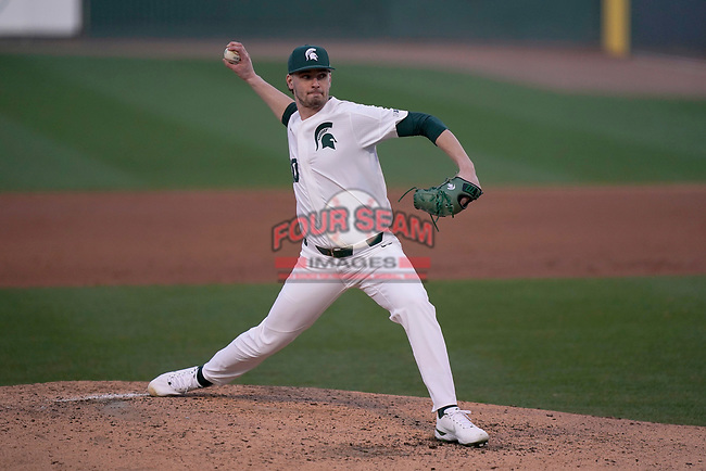 Starting pitcher Mason Erla (30) of the Michigan State Spartans in a game against the Maryland Terrapins on Saturday, March 6, 2021, at Fluor Field at the West End in Greenville, South Carolina. (Tom Priddy/Four Seam Images)