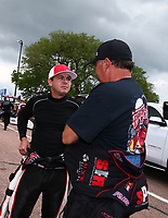 Apr 22, 2017; Baytown, TX, USA;NHRA top fuel driver Steve Torrence (left) with Scott Palmer during qualifying for the Springnationals at Royal Purple Raceway. Mandatory Credit: Mark J. Rebilas-USA TODAY Sports