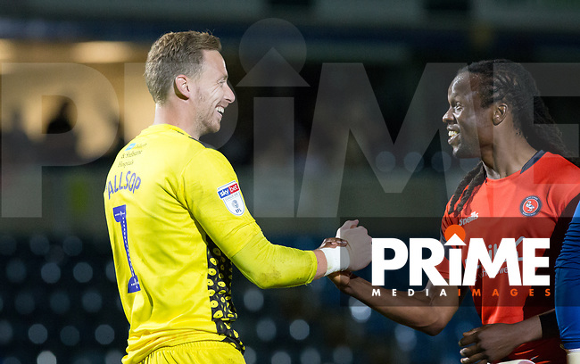 Marcus Bean & Goalkeeper Ryan Allsop of Wycombe Wanderers at full time during the Carabao Cup 2nd round match between Wycombe Wanderers and Forest Green Rovers at Adams Park, High Wycombe, England on 28 August 2018. Photo by Kevin Prescod.