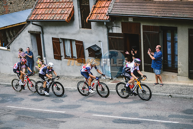 Matej Mohoric (SLO) Bahrain-Victorious, Jasper Stuyven (BEL) Trek-Segafredo, Victor Campenaerts (BEL) Qhubeka-NextHash and Brent Van Moer (BEL) Lotto Soudal from the breakaway during Stage 7 of the 2021 Tour de France, running 249.1km from Vierzon to Le Creusot, France. 2nd July 2021.  <br /> Picture: A.S.O./Pauline Ballet | Cyclefile<br /> <br /> All photos usage must carry mandatory copyright credit (© Cyclefile | A.S.O./Pauline Ballet)