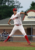 June 27, 2003:  pitcher Justin Libey of the Batavia Muckdogs during a game at Dwyer Stadium in Batavia, New York.  Photo by:  Mike Janes/Four Seam Images