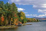 Boathouse in the Fall on Rangeley Lake, Rangeley, Maine, USA