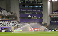 Sprinklers a Lotto Park pictured during the half time at a female soccer game between RSC Anderlecht Dames and Portugese Benfica Ladies  in the second qualifying round for the Uefa Womens Champions League of the 2020 - 2021 season , Wednesday 18 th of November 2020  in ANDERLECHT , Belgium . PHOTO SPORTPIX.BE | SPP | SEVIL OKTEM