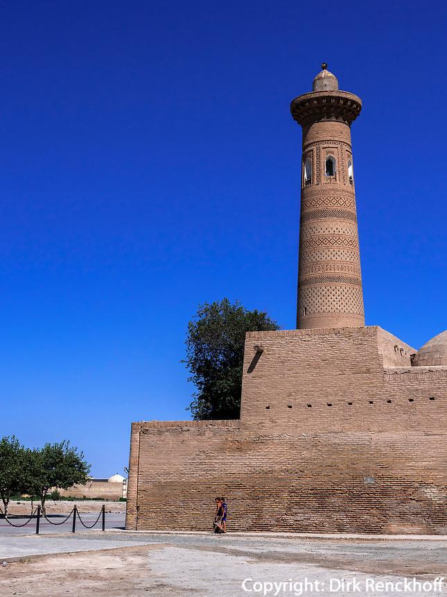 Minarett  Xiva, Usbekistan, Asien, UNESCO-Weltkulturerbe<br /> Minaret, historic city Ichan Qala, Chiwa, Uzbekistan, Asia, UNESCO heritage site