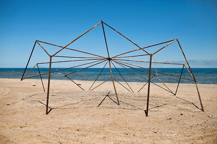 Nuweiba, Sinai, June 2014. Structure of an abandoned beach umbrella.
