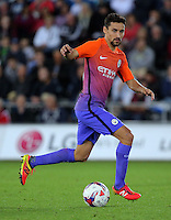 Jesus Navas of Manchester City in action during the EFL Cup Third Round match between Swansea City and Manchester City at The Liberty Stadium in Swansea, Wales, UK. Wednesday 21 September.