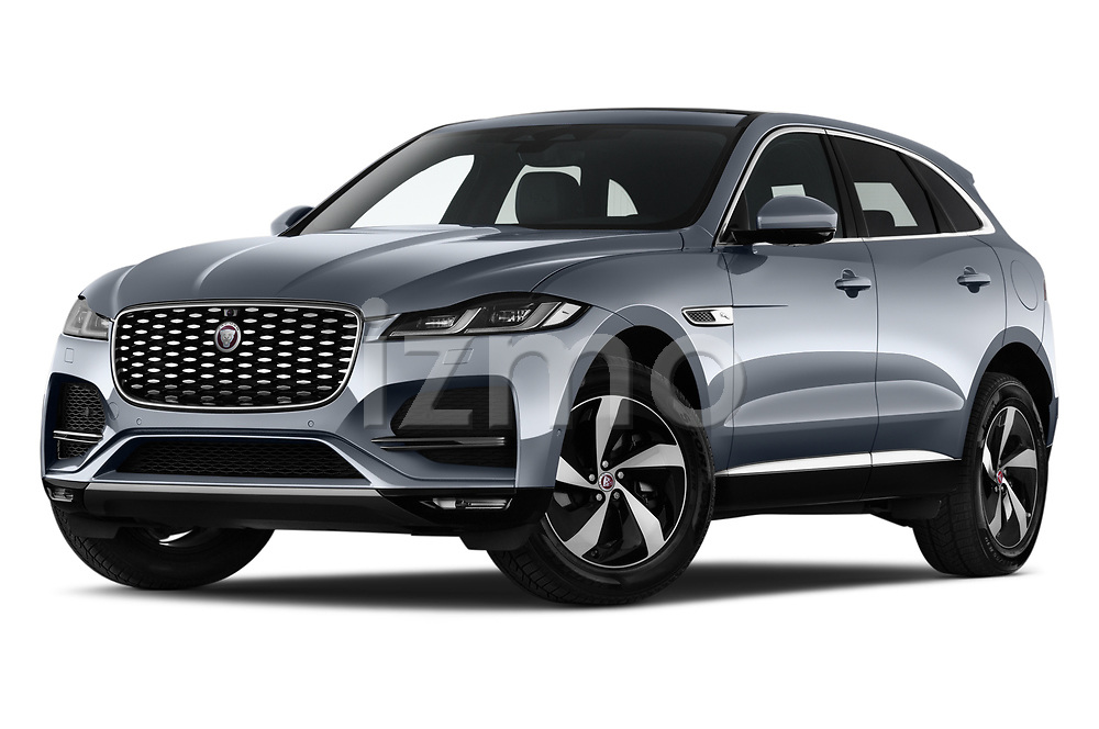Stock pictures of low aggressive front three quarter view of 2021 Jaguar F-Pace S 5 Door SUV Low Aggressive