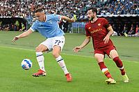26th September 2021;  Stadio Olimpico, Rome, Italy; Italian Serie A football, SS Lazio versus AS Roma; Adam Marusic of SS Lazio controls the ball
