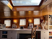 BNPS.co.uk (01202) 558833. <br /> Pic: Zeewarriors/BNPS<br /> <br /> Pictured: Workspace. <br /> <br /> A 100-year old Dutch sailing barge moored in Bermondsey has gone on sale for £278,000.<br /> <br /> The 25-metre MV Johanna Elisabeth was originally constructed in 1913 at Appelo, Zwartsluis in Holland, and was brought to the UK in 2003 by a previous owner.<br /> <br /> Her work as a sailing barge included shipping freight but she is now moored at the South Dock Marina in Bermondsey, south London, and used as a home.