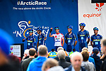 Joker Icopal team at sign on before the start of Stage 3 of the 2018 Artic Race of Norway, running 194km from Honningsvg to Hammerfest, Norway. 18th August 2018. <br /> <br /> Picture: ASO/Pauline Ballet | Cyclefile<br /> All photos usage must carry mandatory copyright credit (© Cyclefile | ASO/Pauline Ballet)