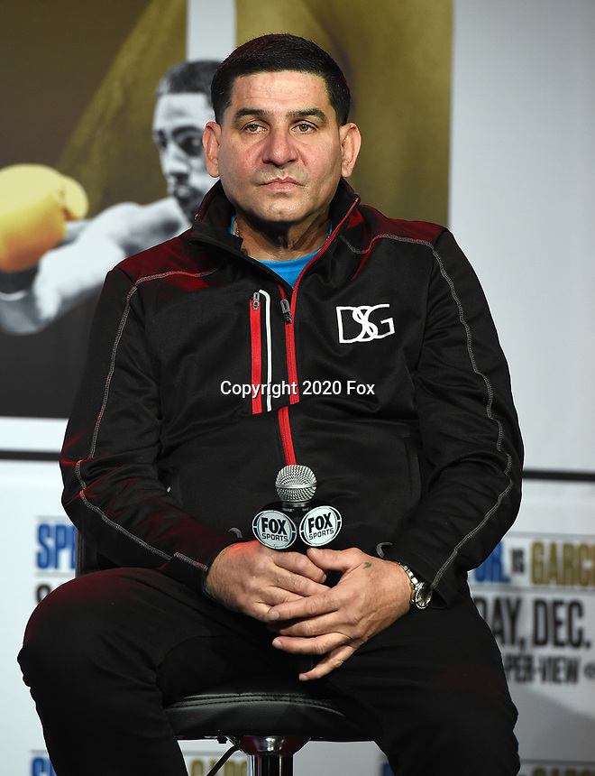 DALLAS, TX - DECEMBER 2: Trainer Angel Garcia at the press conference for the Errol Spence Jr. vs Danny Garcia December 5, 2020 Fox Sports PBC Pay-Per-View title fight at AT&T Stadium in Arlington, Texas. (Photo by Frank Micelotta/Fox Sports)
