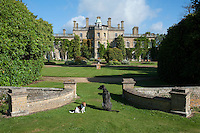 Dogs Dougall and Alfie pose infront of the garden facade of Pylewell Park