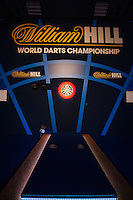 04.01.2015.  London, England.  William Hill PDC World Darts Championship.  Finals Night.  General view of the oche before the final of The 2015 William Hill World Darts Championship.